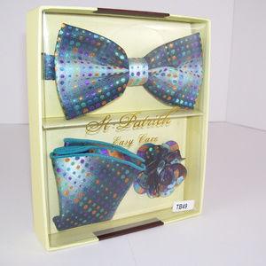 3 Pc Formal Matching Blue Polkadot Necktie Handkerchief Boutonniere Gift Set